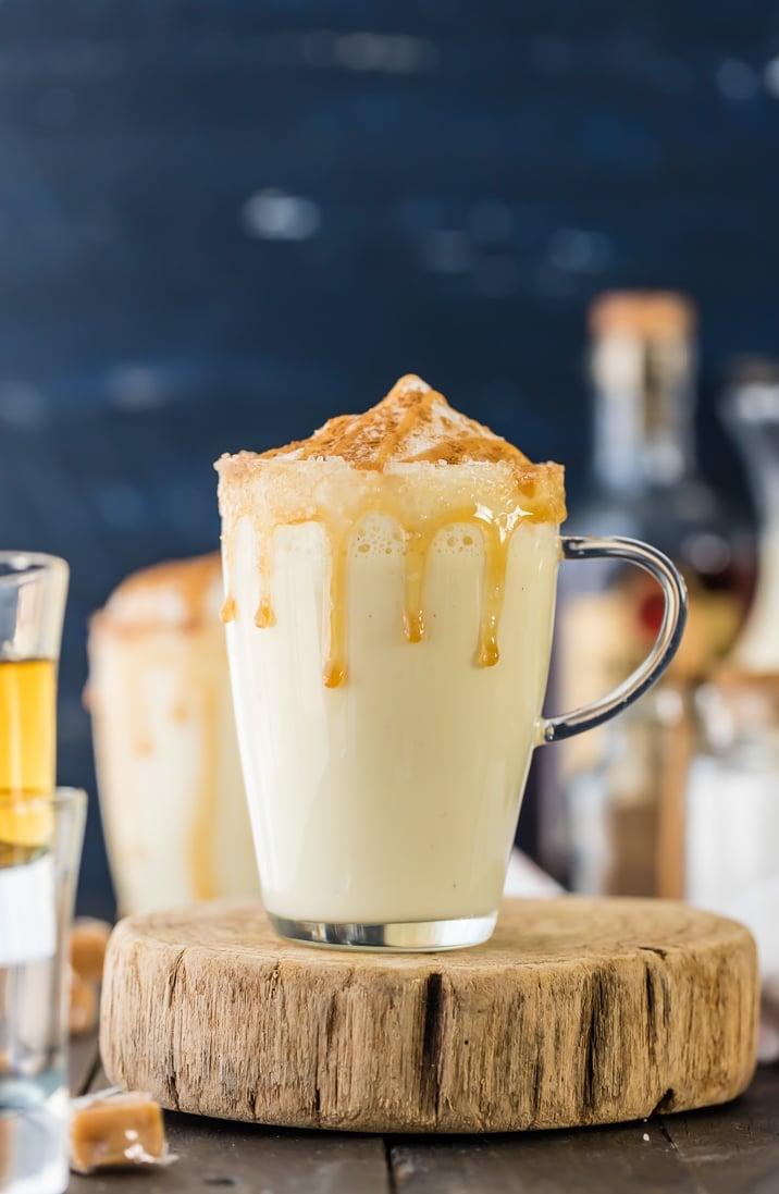 Clear mug filled with easy salted caramel eggnog