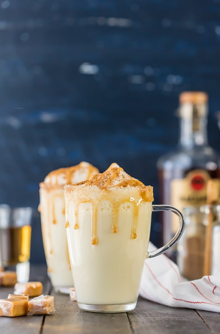 HOMEMADE SALTED CARAMEL EGGNOG! I never knew making eggnog was SO EASY! Made on the stove in under 15 minutes. Make it a cocktail or mocktail with ease! Our favorite Thanksgiving and Christmas drink recipe!