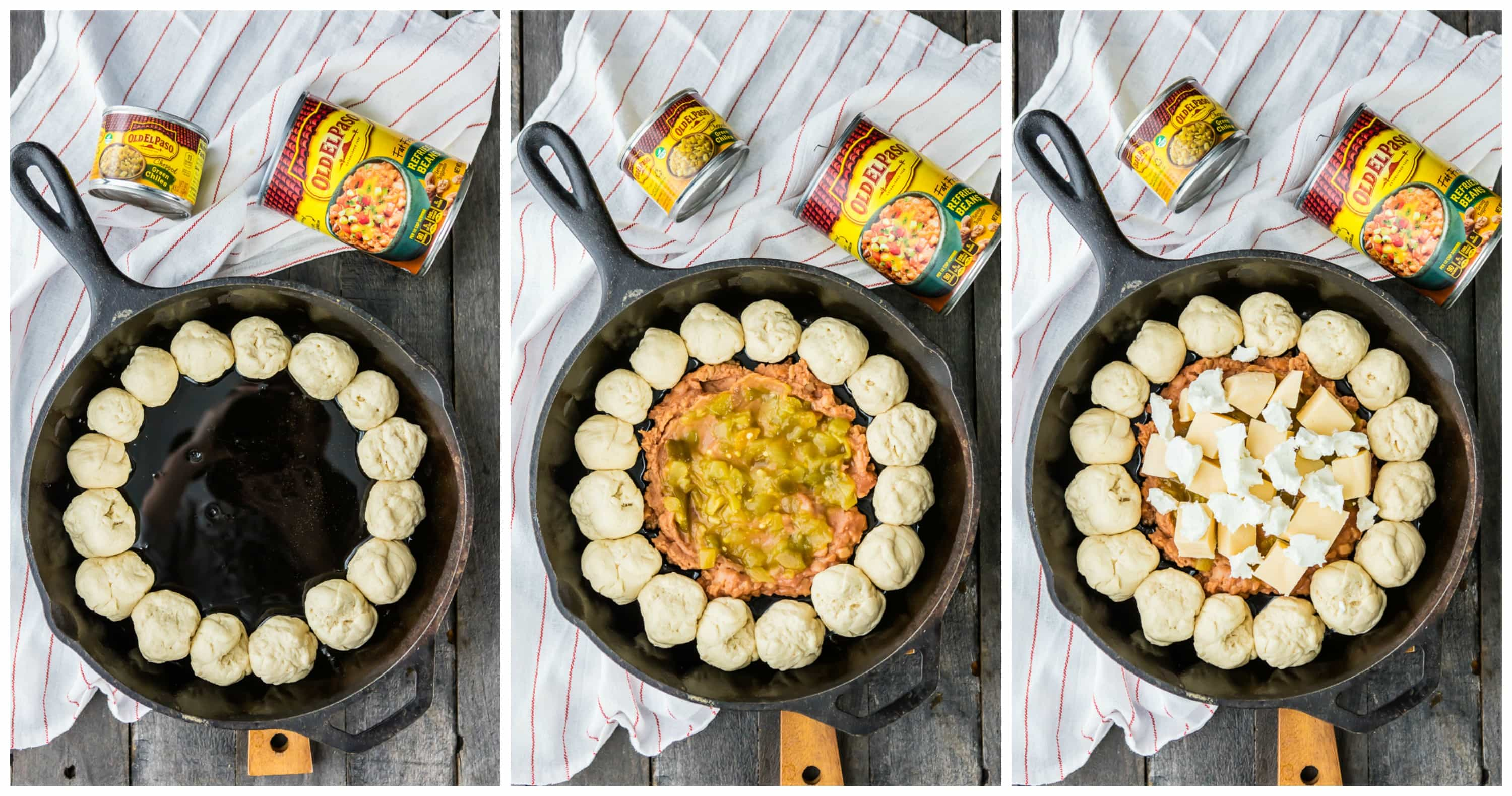 three pictures showoing how to prepare skillet bean and cheese dip with pull apart bread and Old El Paso cans