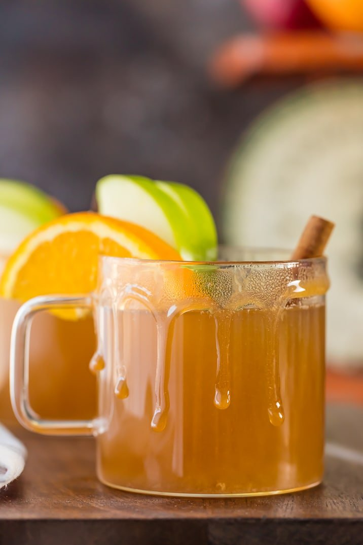 SKINNY SLOW COOKER CARAMEL APPLE CIDER!!! The BEST drink recipe for fall. Make it a cocktail or mocktail, both are DELISH! Makes your house smell AMAZING!!! I can't believe how easy Homemade Apple Cider is to make!