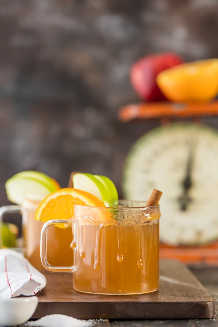 Crockpot Apple Cider recipe in clear mugs