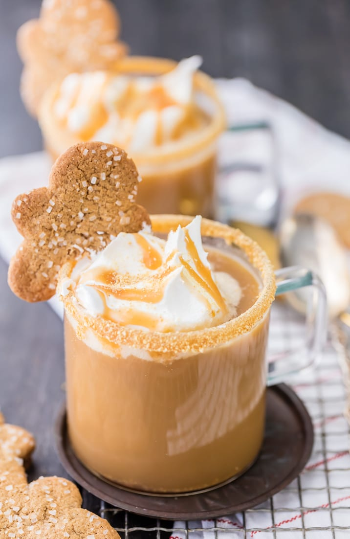 Close up on a gingerbread latte topped with whipped cream and caramel sauce