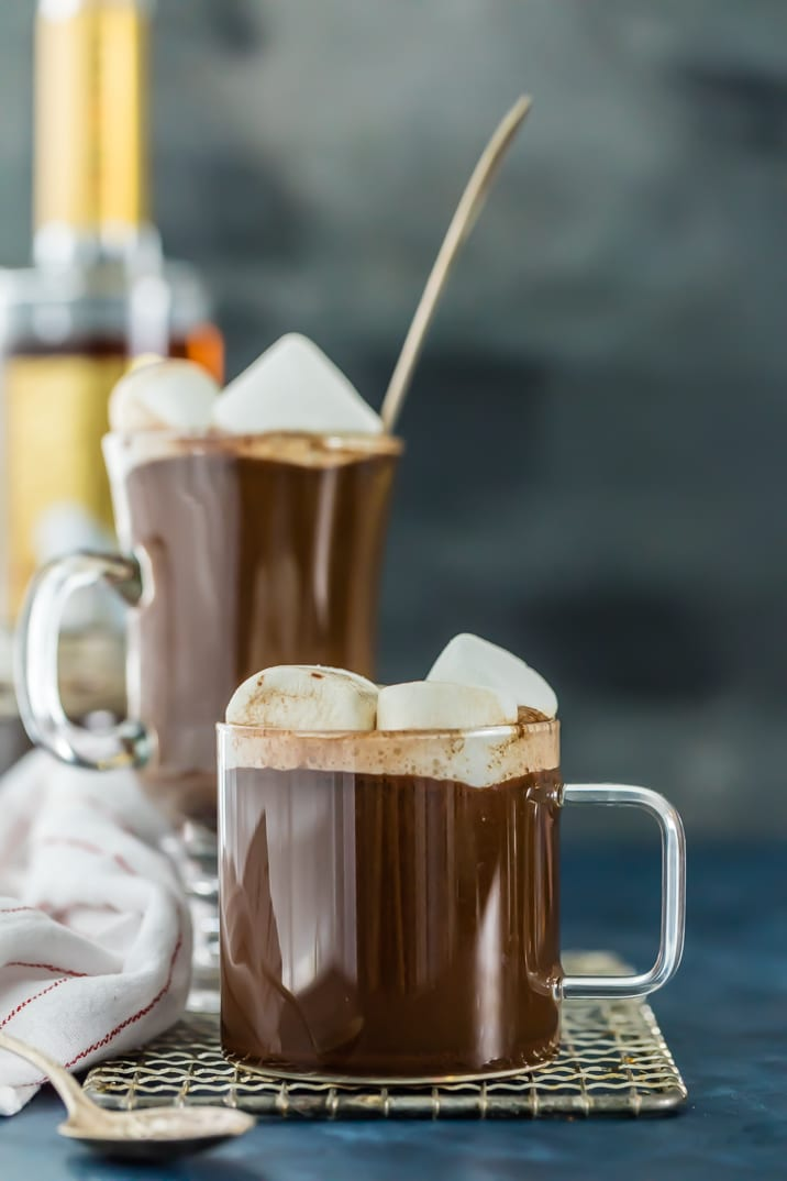 Hot chocolate buttered rum in two glass mugs