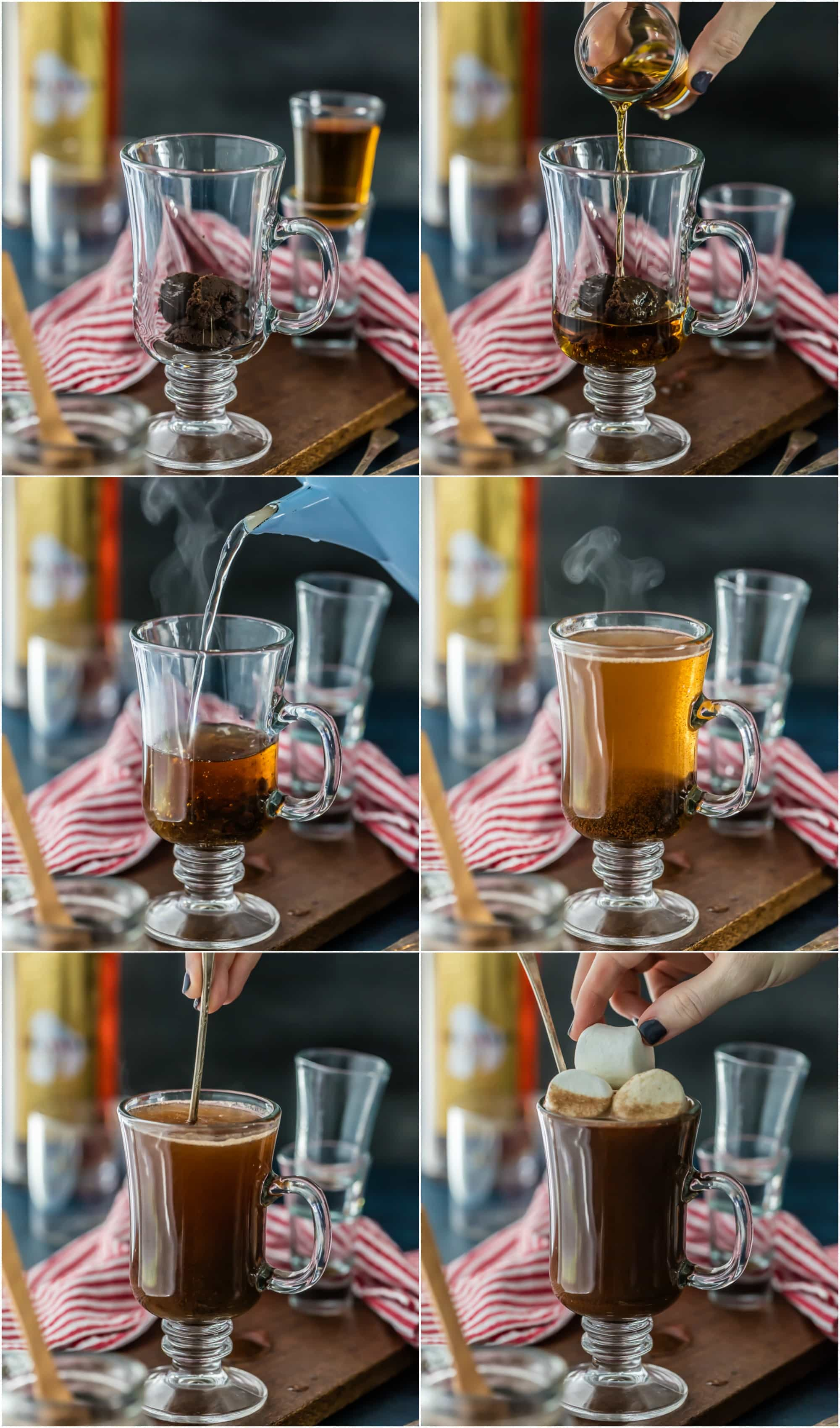 Photo collage showing how to make hot buttered rum