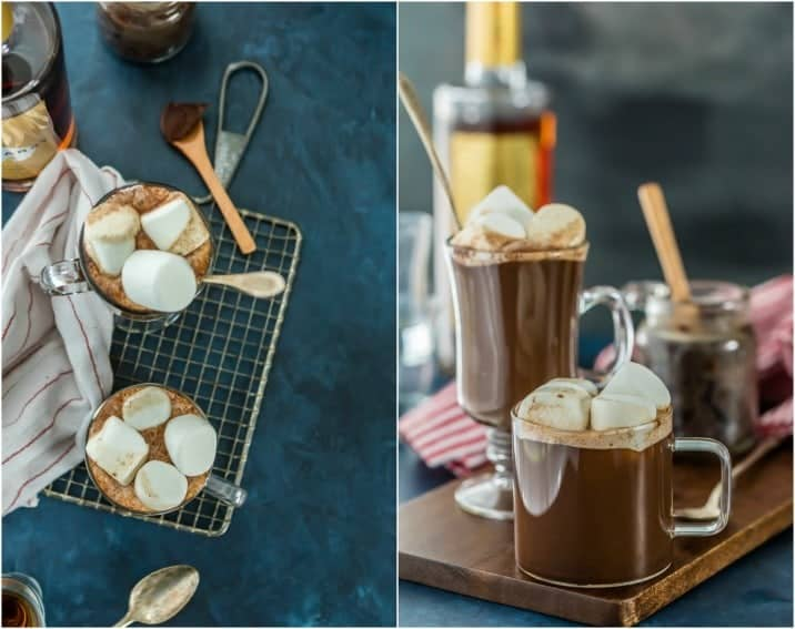 Chocolate Hot Buttered Rum, my absolute FAVORITE warm cocktail recipe for the holidays (or all Winter!) Tastes like liquid brownie batter!