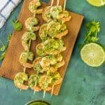 Easy Pesto Shrimp Two Ways! Cilantro Lime Pesto and Basil Lime Pesto with grilled shrimp is the PERFECT healthy recipe for holiday appetizers!