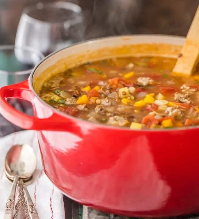 Copycat Carrabba's Sausage and Lentil Soup...your favorite restaurant comfort food made easy at home! This amazing sausage lentil soup is a staple at our house. So delicious!