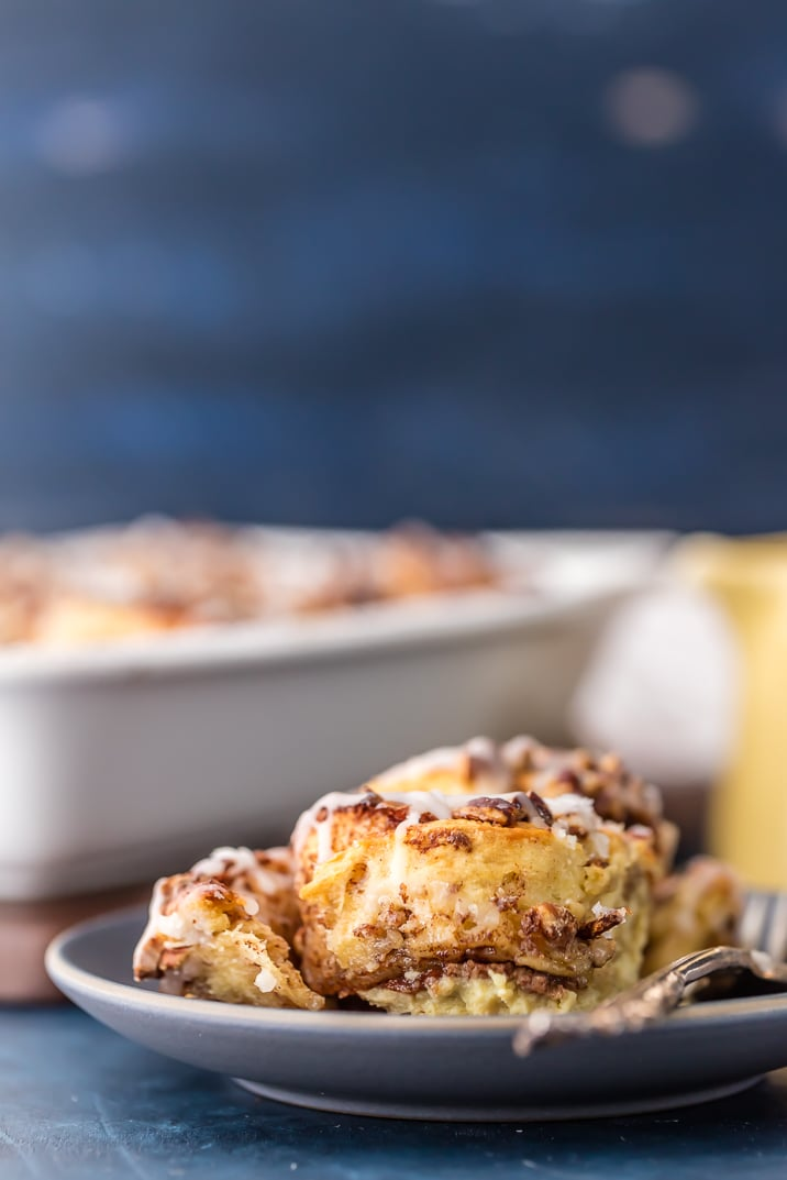 Cinnamon Roll French Toast Bake, SO EASY IT'S RIDICULOUS! Loaded with cinnamon rolls, cream, eggs, vanilla, and everything good. Perfect Christmas Morning breakfast or holiday brunch easy recipe!! Cinnamon Roll French Toast Casserole never looked better.