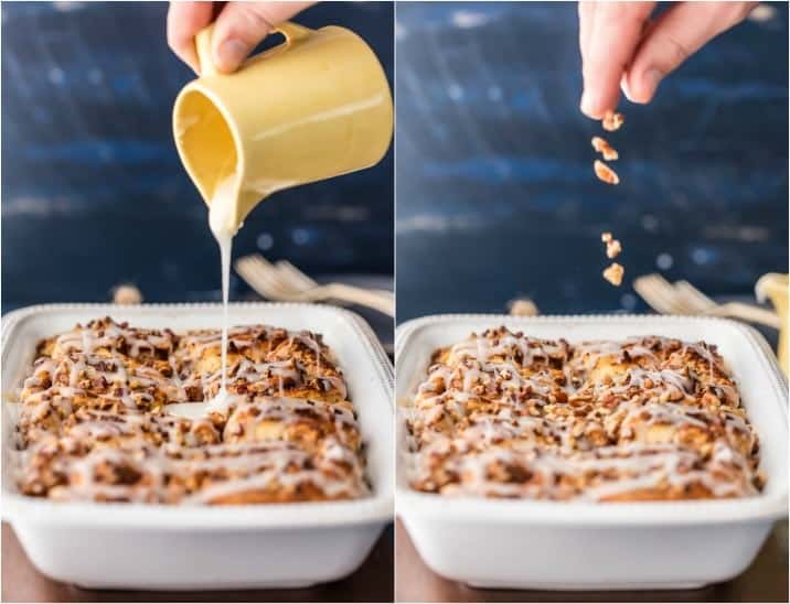 Cinnamon Roll French Toast Bake is the Easy French Toast you've been searching for! This French Toast Bake is SO EASY IT'S RIDICULOUS! It's loaded with premade cinnamon rolls, cream, eggs, vanilla, and everything good. This Cinnamon Roll Casserole is the perfect Christmas Morning breakfast or holiday brunch easy recipe!! I make this every time we have guests.