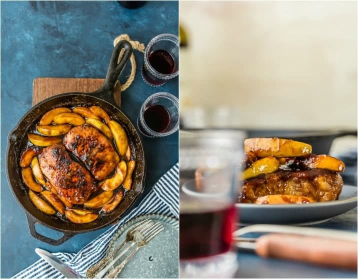 Photo Collage: Pork Chops and Apples in a skillet; apple pork chops on a plate