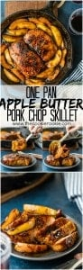 One Pan Apple Butter Pork Chop Skillet...the perfect recipe for Fall and Winter! One bonus...only ONE PAN to clean! Wow your family with this (SUPER EASY) recipe that everyone will love!