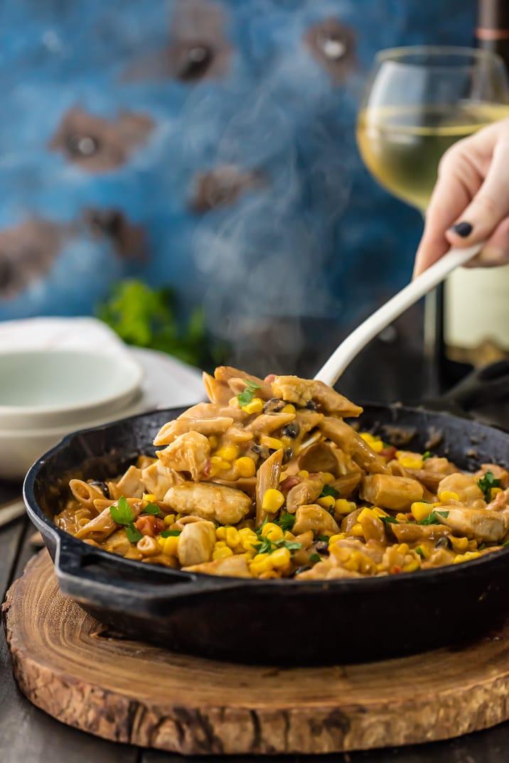 One Pan Southwest Chicken Alfredo Skillet