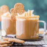 gingerbread latte in a glass mug