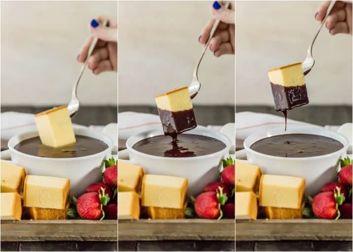 three shot picture of pound cake being dipped into spiked chocolate hazelnut fondue