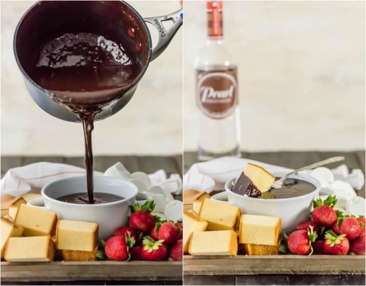 spiked chocolate hazelnut fondue poured out of a saucepan