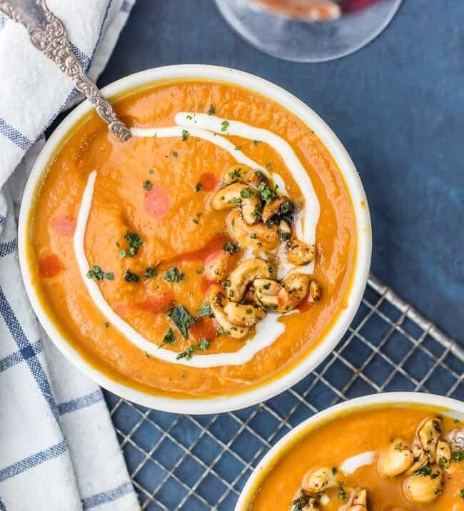 Vegan Pumpkin Soup with Candied Cashews in bowls