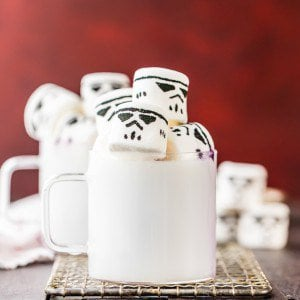 white chocolate hot chocolate with stormtrooper marshmallows