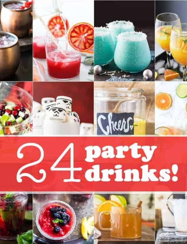 24 amazing party drinks PERFECT for a crowd! Slow cooker drinks, punch, cocktails, and everything in between. Even mocktail recipes! Cheers!