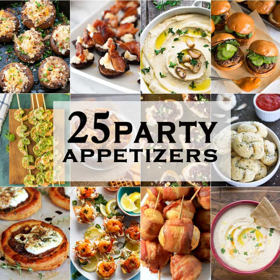 25 PARTY APPETIZERS perfect for tailgate, Christmas, New Years Eve, and the Super Bowl! Great easy appetizer recipes for year round snacking. FAVORITE ROUNDUP EVER!