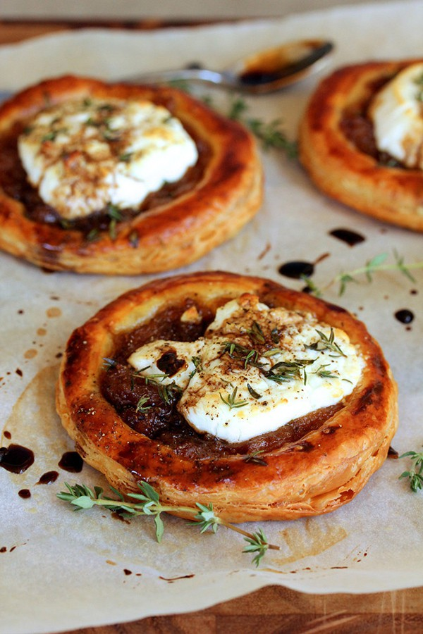 Caramelized Onion, Goat Cheese, and Balsamic Tarts | Karen's Kitchen Stories