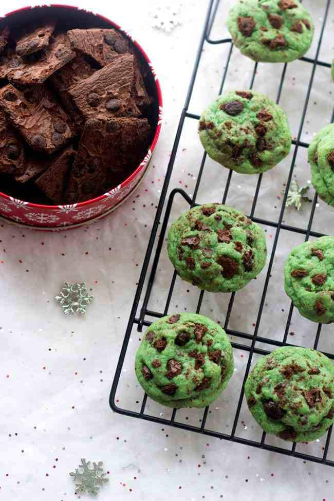 Mint Chocolate Chip Cookies with Brownie Brittle | Food Faith Fitness