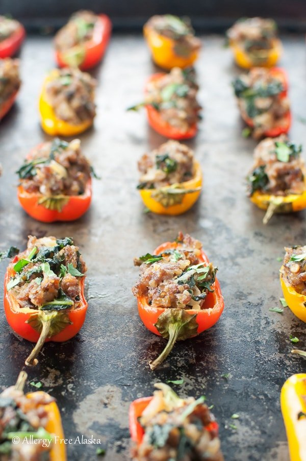 Sausage Stuffed Mini Peppers with Kale and Mushrooms | Allergy Free Alaska