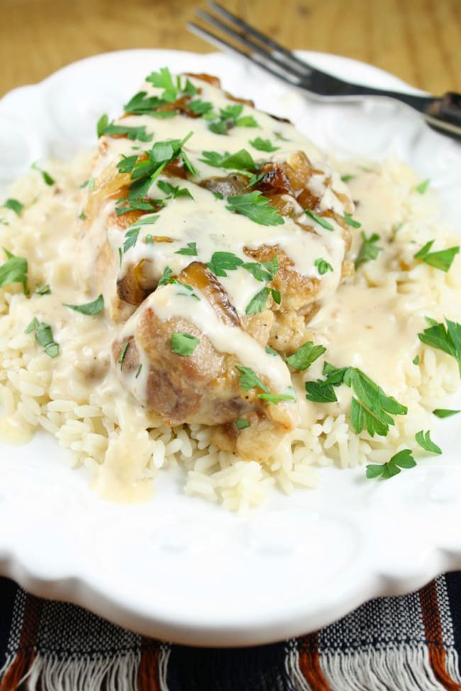 Slow Cooker Smothered Pork Chips with Sour Cream Sauce | Miss in the Kitchen