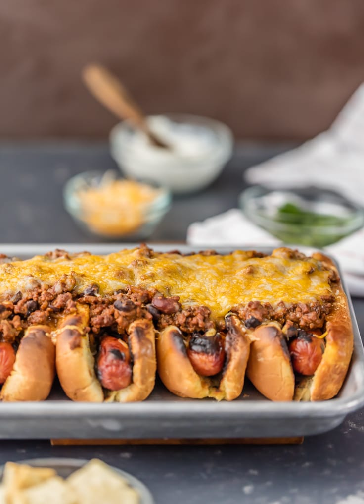 Chili dog recipe best ever chili cheese dogs the cookie rookie this chili dog recipe all baked together on a sheet pan is the best chili dog forumfinder Image collections