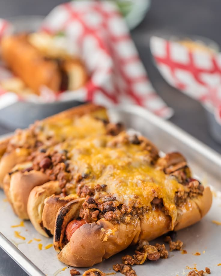 baked chili dogs topped with hot dog chili recipe