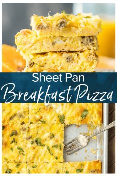 Sheet Pan Breakfast Pizza is a favorite easy breakfast recipe! From the crescent roll crust to the eggs and cheese and everything in between, this pizza is filling and so easy to make!