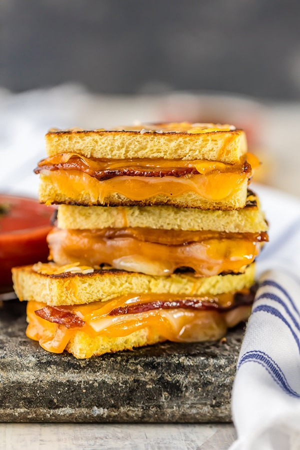 Candied Whiskey Bacon Grilled Cheese Dippers | The Cookie Rookie
