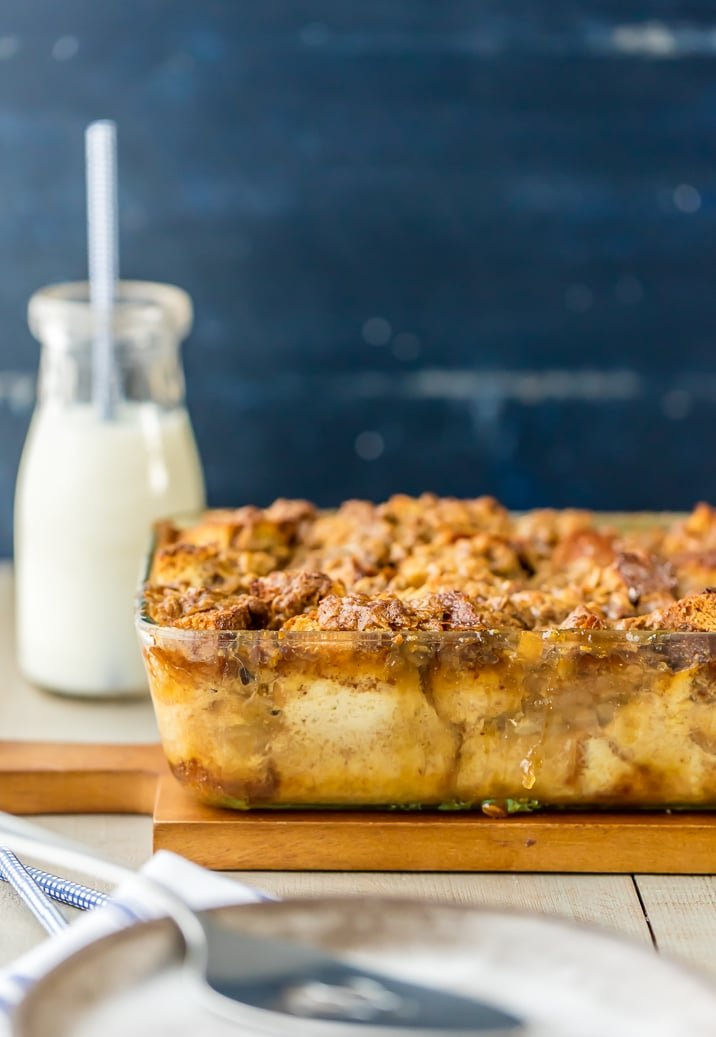 CARAMEL APPLE PIE BREAD PUDDING! Perfect for dessert, or even breakfast! Just like a apple pie french toast casserole recipe but more ooey, gooey, and delicious! Great with vanilla ice cream!