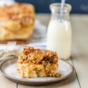 bread pudding on plate with glass of milk behind it