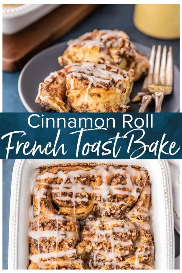 Cinnamon Roll French Toast Bake, SO EASY IT'S RIDICULOUS! Loaded with cinnamon rolls, cream, eggs, vanilla, and everything good. Perfect Christmas Morning breakfast or holiday brunch easy recipe!! I make this every time we have guests. Can you blame me?
