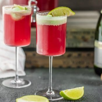 Cranberry Limeade Holiday Champagne Punchh topped with Lime Sherbet!