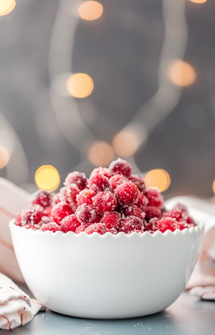 white bowl of easy sugared cranberries with white twinkle lights