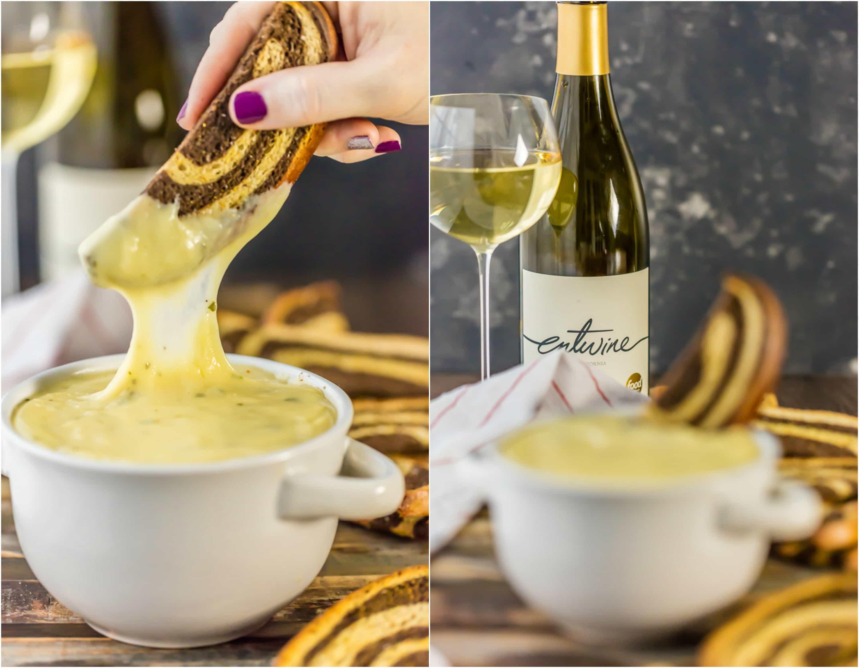 white wine fondue in white bowl
