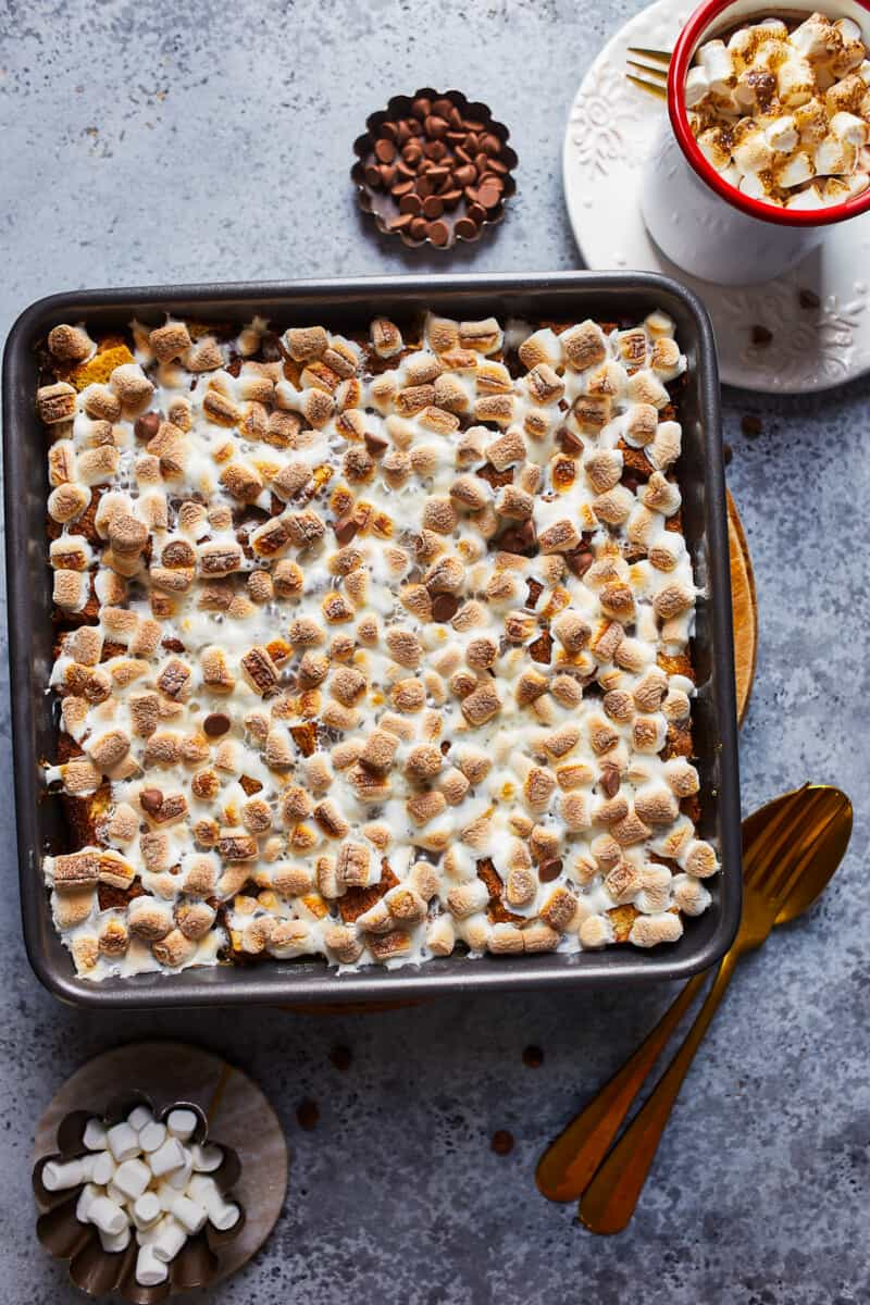 hot chocolate bread pudding in baking dish