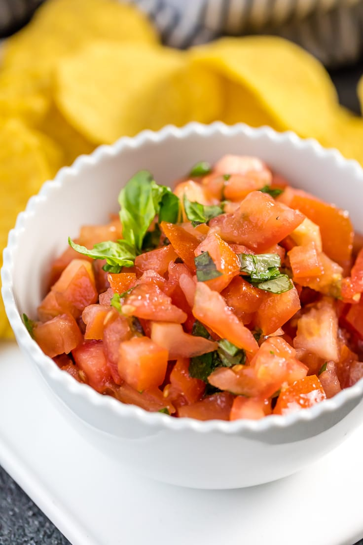 close up of Italian salsa in white bowl.