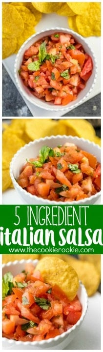 This EASY Italian Salsa has only has 5 ingredients! Love these flavors as a dip or bruschetta topper. Simple to throw together and gone in minutes! Favorite easy salsa recipe!