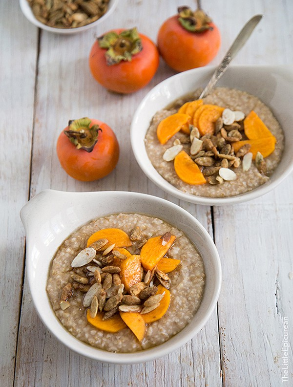 Overnight Steel Cut Oatmeal with Persimmons | The Little Epicurean