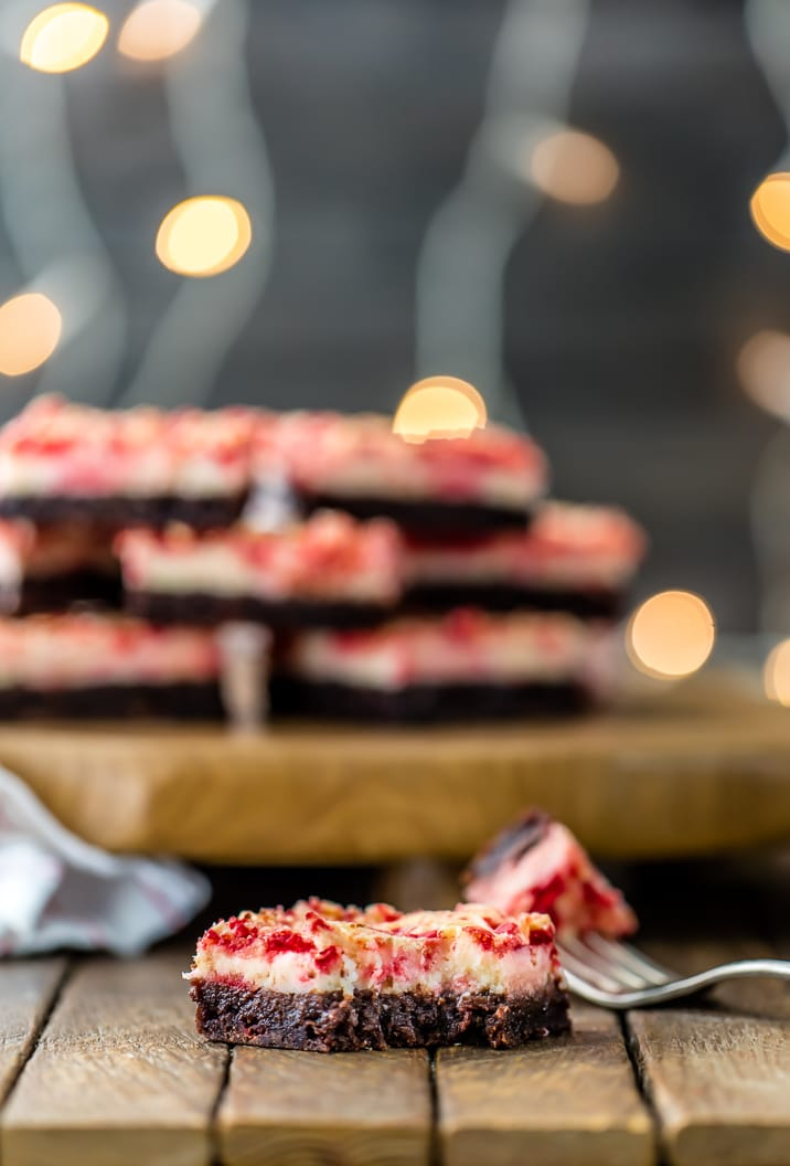 These simple Peppermint Cheesecake Brownies are a MUST MAKE recipe for Christmas! Holiday baking has never been so easy or delicious!
