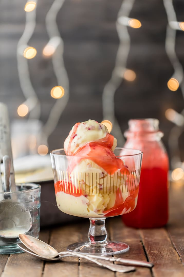 Spiked Peppermint Eggnog Ice Cream with Candy Cane Syrup! This recipe is CHRISTMAS in a cup! SO EASY!! We love this holiday favorite year round!