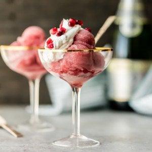 pomegranate champagne sorbet in glasses