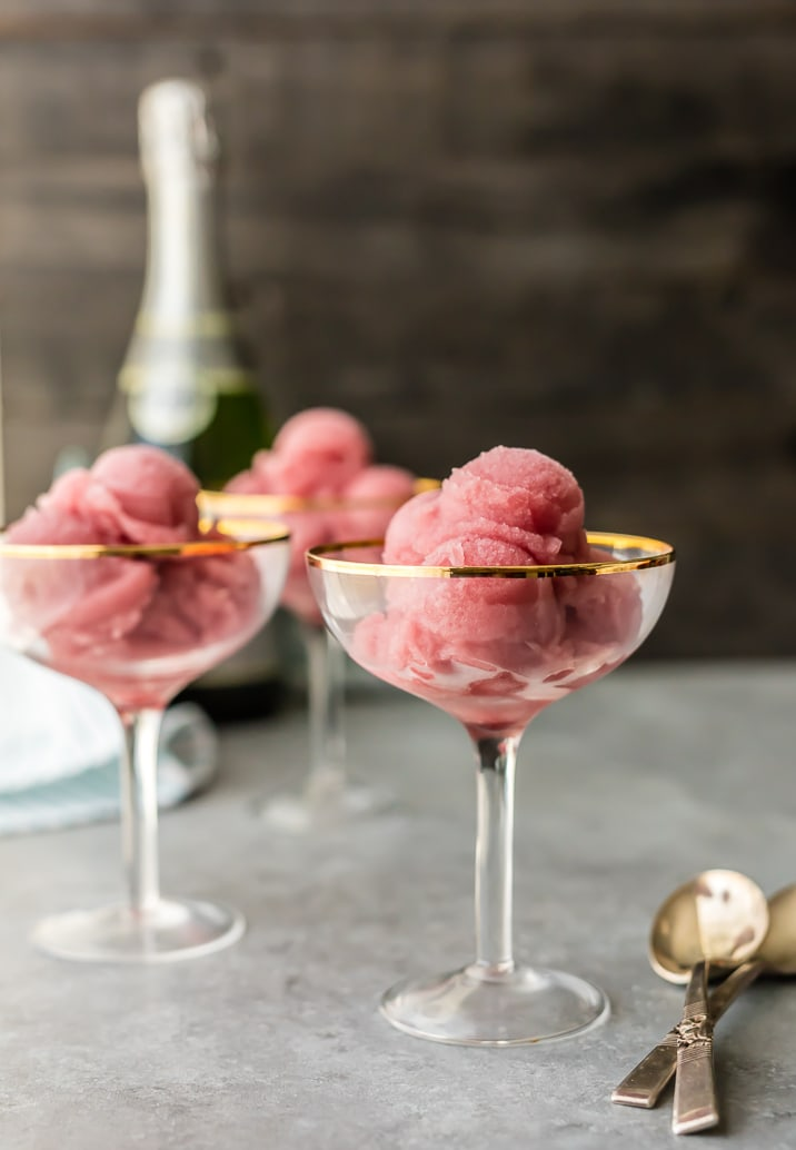 Pomegranate Champagne Sorbet is an easy recipe perfect for New Years Eve, Christmas, and the holidays! Sweet, simple, and so tasty! Champagne makes for the best sorbet!