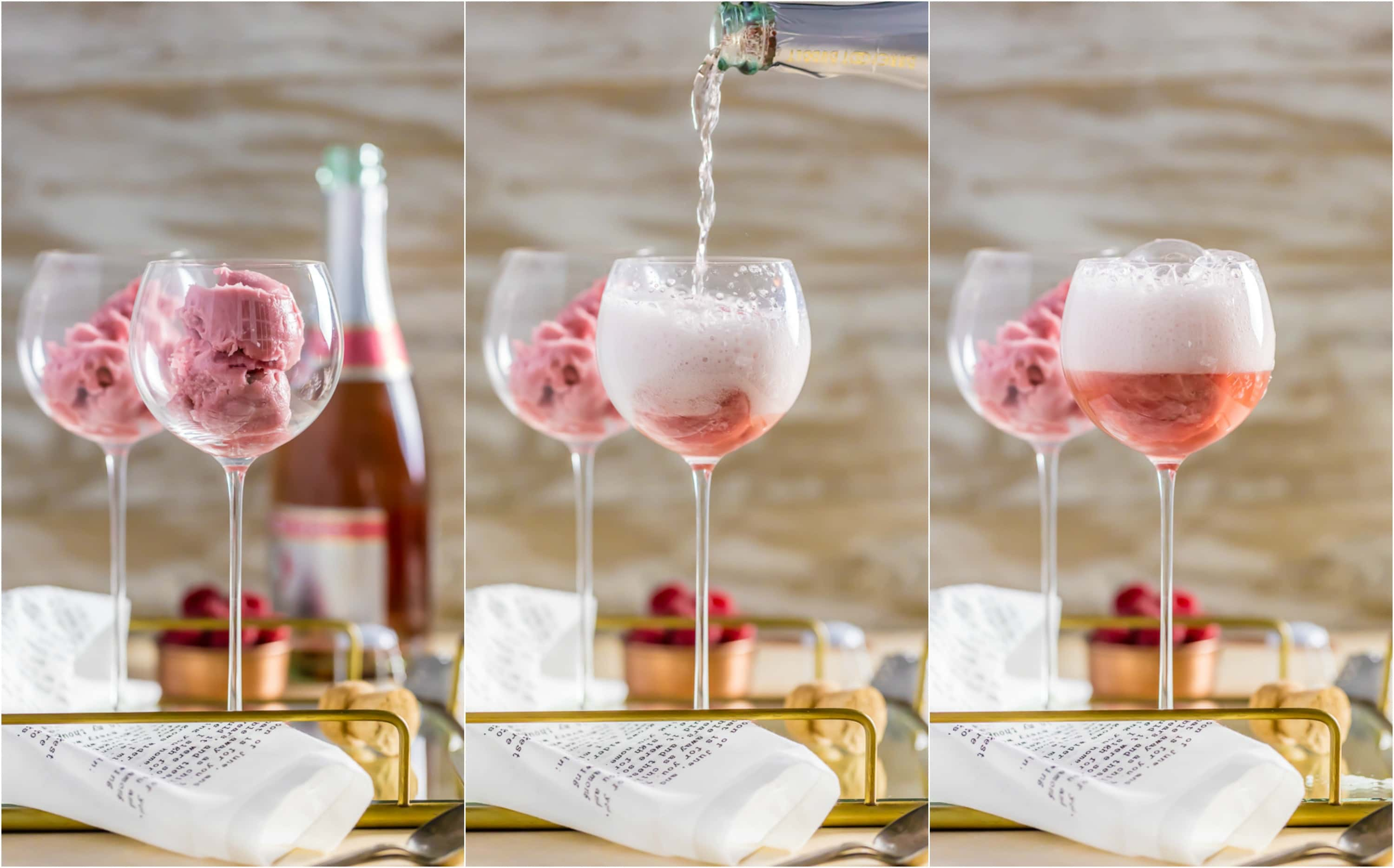 three photo collage: two wine glasses with raspberry sorbet; pouring champagne into one glass; one glass filled with champagne bubbles