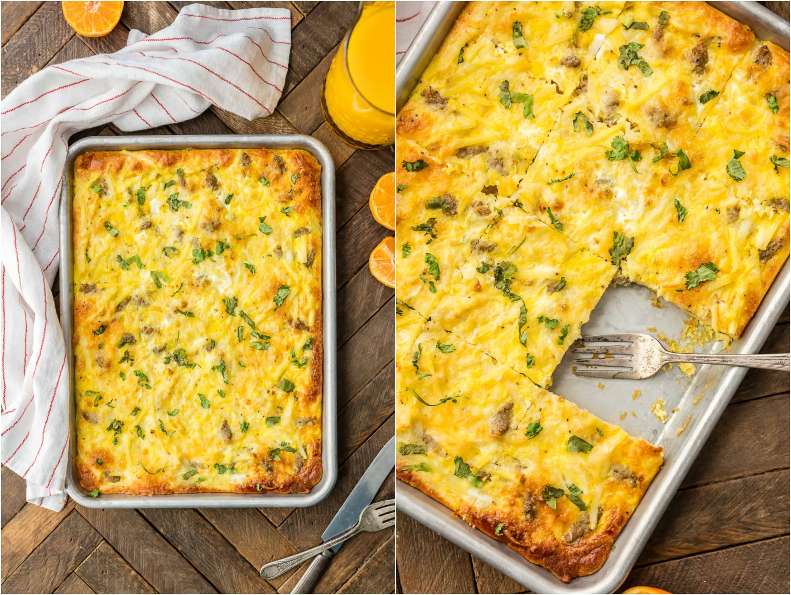 two shot, sheet pan breakfast pizza, birds-eye view and close up view