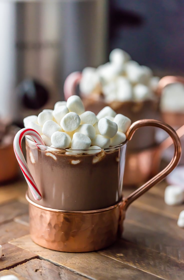 Slow Cooker Peppermint Hot Chocolate - The Cookie Rookie