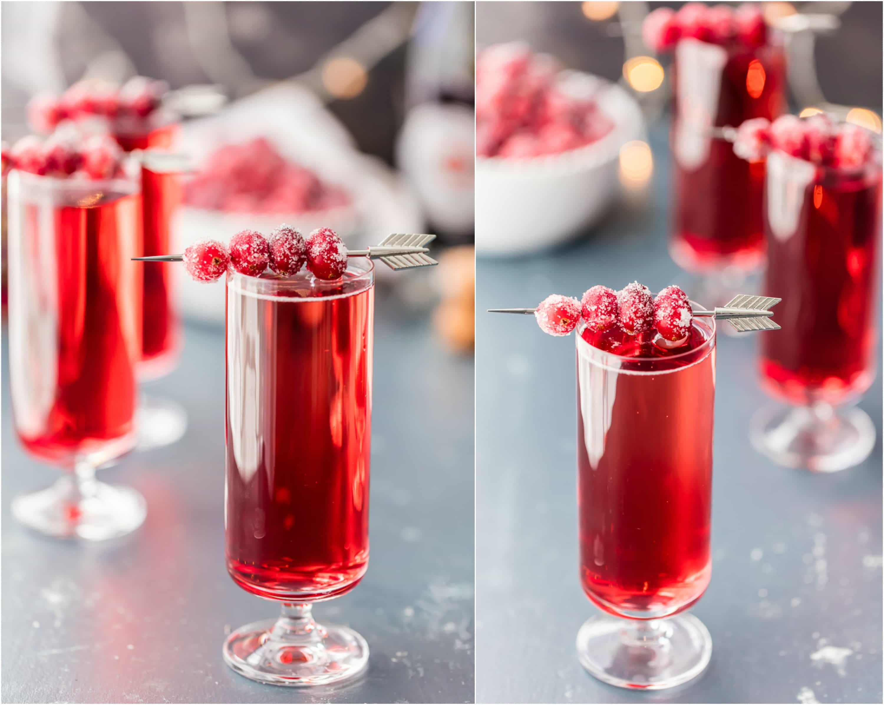 two pictures of cranberry ginger mimosas with sugared cranberry garnish