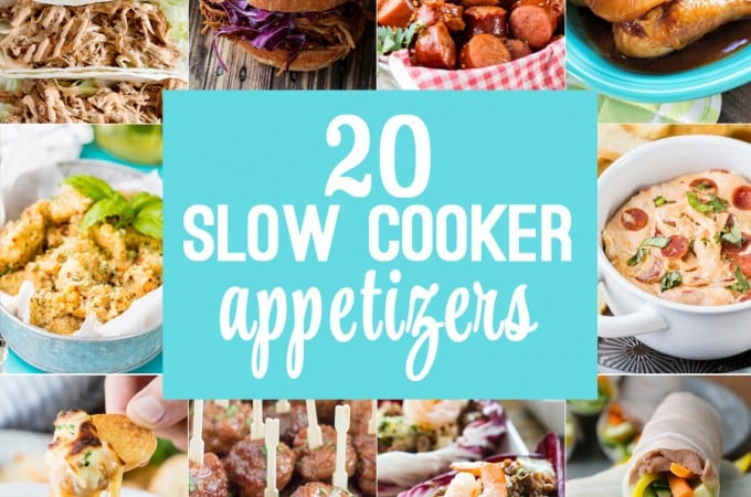 20 SLOW COOKER APPETIZERS! Best appetizer recipes perfect for tailgating, parties, holidays, and everything in between. EASY RECIPES made in a slow cooker/crockpot! HOLY YUM!